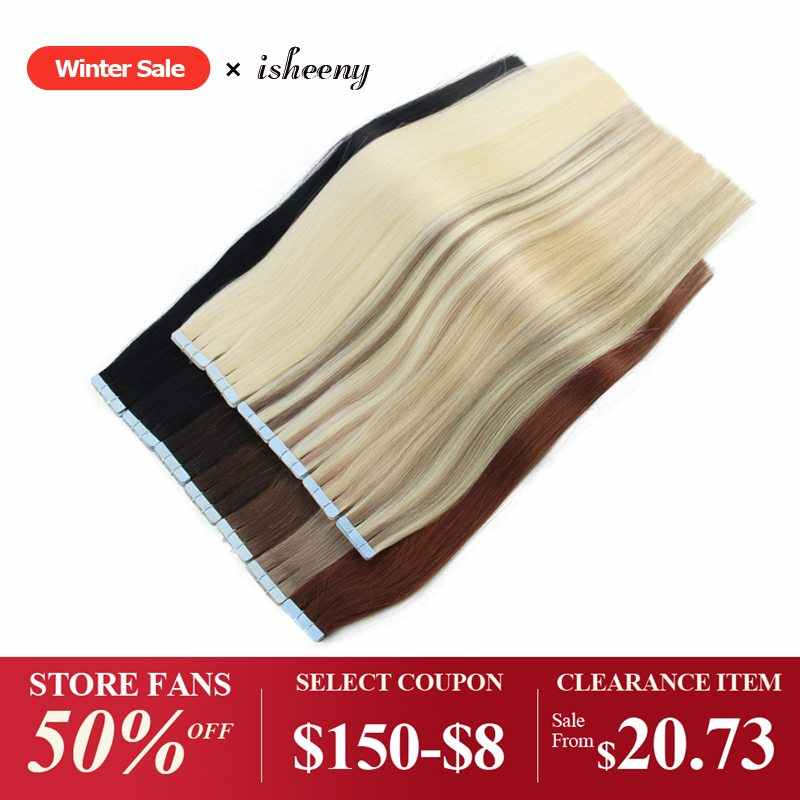 "isheeny Human Hair Tape In 14"" 16"" 18"" 20"" 22"" Extensions Straight European Remy On Adhesive Invisible PU Weft 20pcs 40pcs"