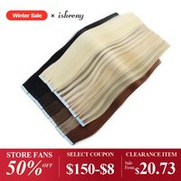 isheeny Human Hair Tape In 14 16 18 20 22 Extensions Straight European Remy On Adhesive Invisible PU Weft 20pcs 40pcs