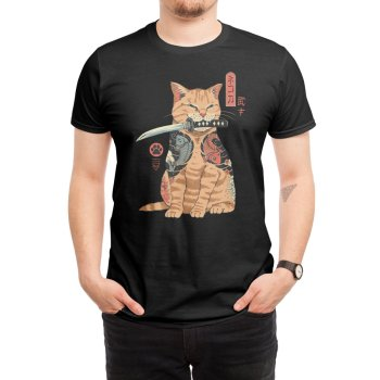 Cat Tattooed Like A Samurai T-Shirt Ukiyo Cotton O-Neck Short Sleeve Mens T Shirt