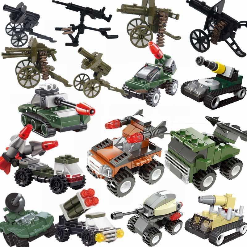 Conjunto militar legoings tanque blocos de construção foguete carro argamassa artilharia canhão veículo blindado legoings brinquedos militares para crianças