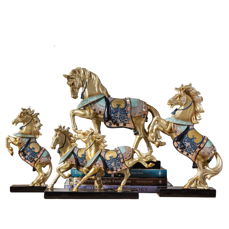 New Classical Modern Creative Animals Color Horse Figurine Peter Horse Statue Resin Craft Britpop Decorations For Home R3251