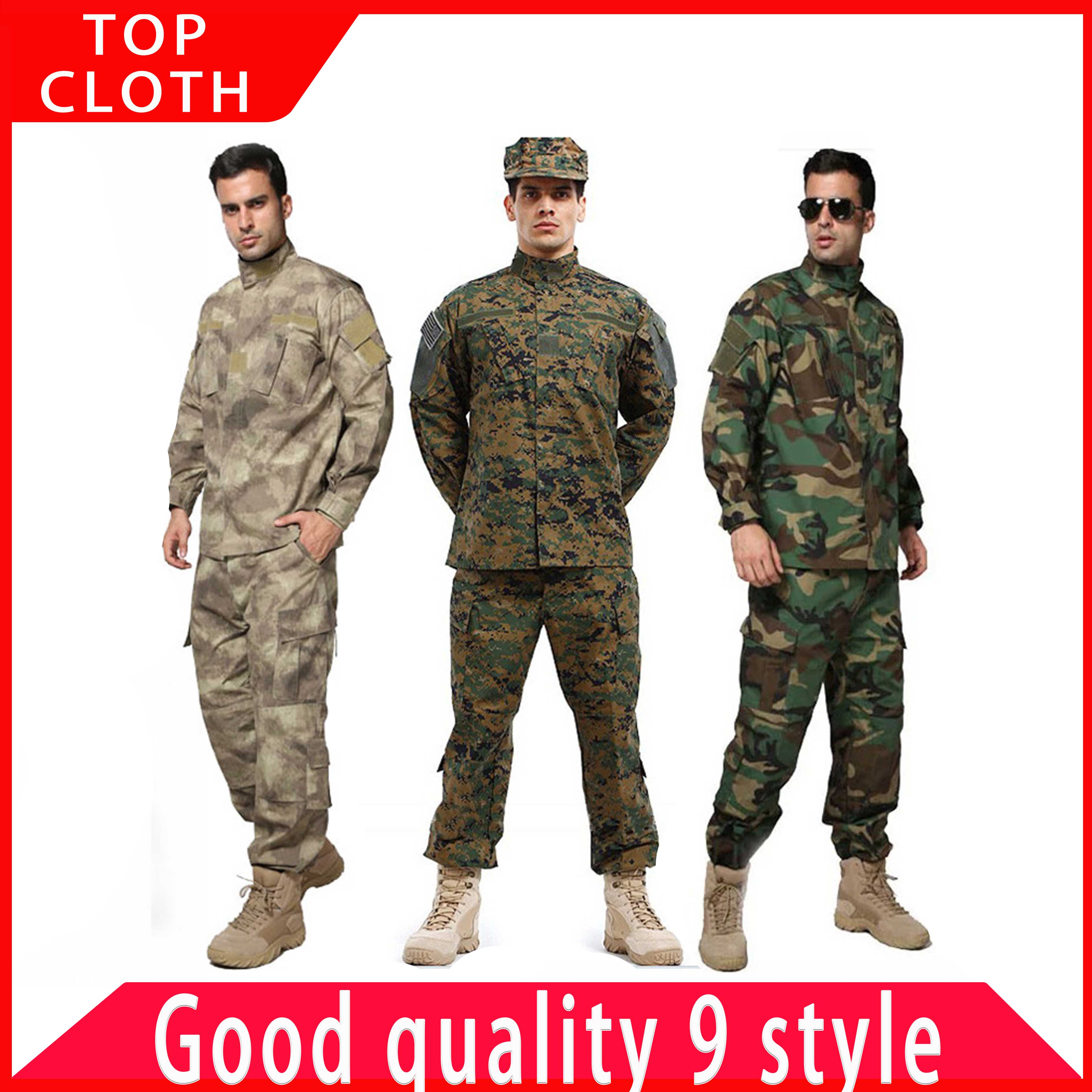 Male Military  Tactical Uniform US Army Suit  Airforce Desert Jungle Outdoor Hunting Costumes ACU Camo Camouflage Combat Jacket