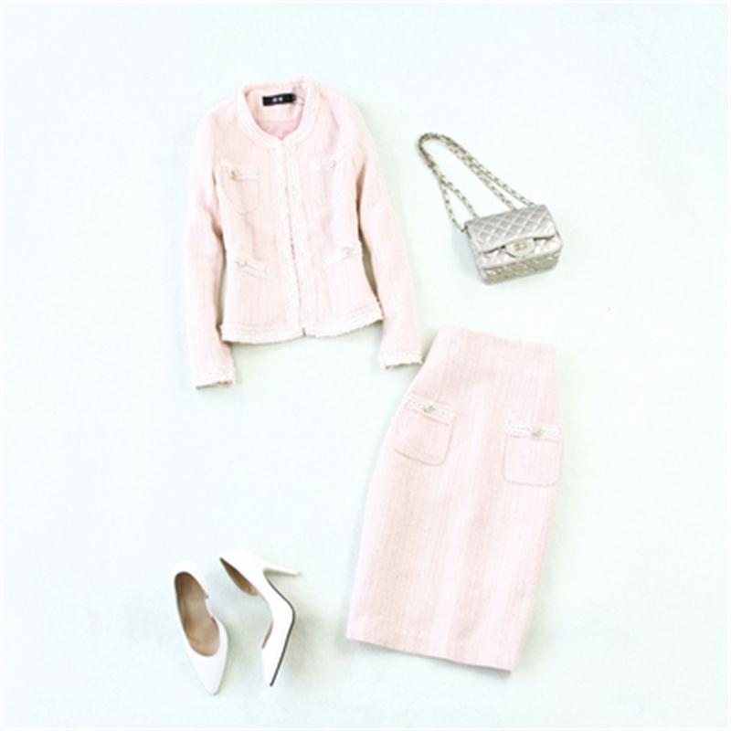 Fashion Suit Female Winter / Spring New High Quality Large Size Woolen Tweed Pink Small Jacket + Bag Hip Skirt Suit Women