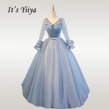 It's YiiYa Wedding Dresses Elegant V-neck Plus Size Wedding Princess Dress Long Sleeve Lace Appliques Robe De Mariee CH156