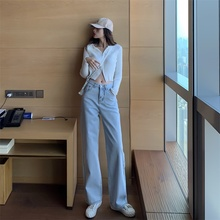 High Waist straight Women Blue Denim Jeans  Pants Trousers