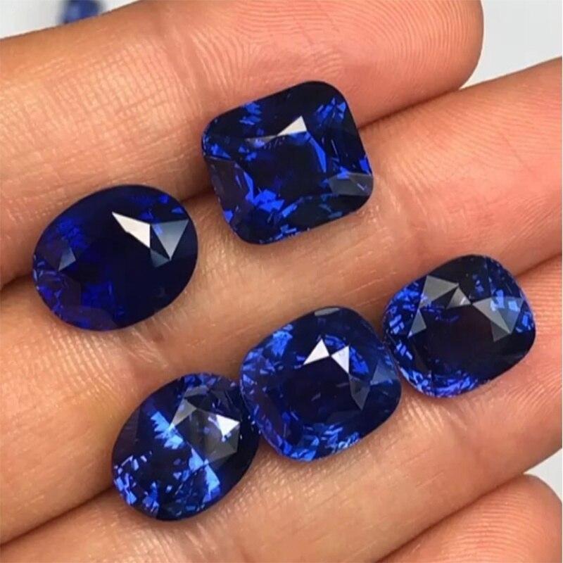 1PCS Natural Cutting 3A Tanzania Sapphire Corundum Spinel Various Shapes Mosaic Jewelry Diy Blue Gem AAA