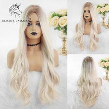 Loira unicórnio longo natural ondulado perucas de cabelo sintético loira raiz ombre peruca branca para preto branco feminino fibra resistente ao calor