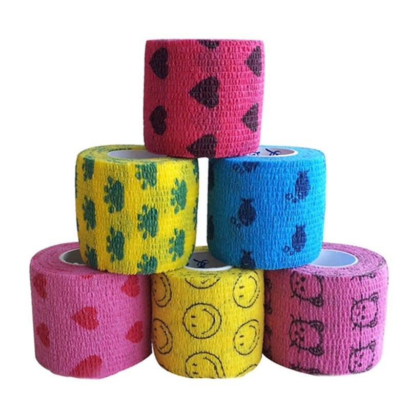 Multifunction Self Adhesive Elastic Bandage Muscle Tape Joints Wrap Bandage Non-woven Pet Flexible Cartoon Printed Bandage