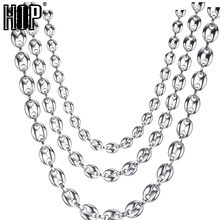 HIP Hop Width 7MM 9MM 11MM Silver Stainless Steel Gold Coffee Beans Link Chain Necklace For Men Jewelry