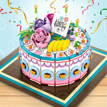 Creative Cakes building blocks Friends Birthday Cake Bricks Model Kit education toys diy cake friends for girl toys