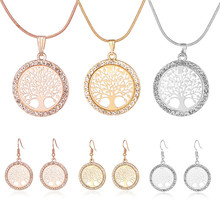 Hot Tree of Life Crystal Round Small Pendant Necklace Gold Silver Colors Bijoux Collier Elegant Women Jewelry Gifts Dropshipping