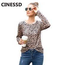 CINESSD Women Casual Tshirt Leopard Print Tops Round Neck Long Sleeves 2019 Autumn Winter Elastic Slim Lady Pullover Tee Shirts