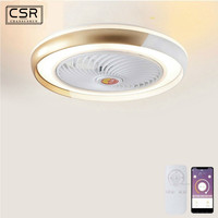Suction Dome Light Fan Lamp With Remote Control Mobile Phone Wi Fi Indoor Home Decoration Smart Ceiling Fan With Modern Light