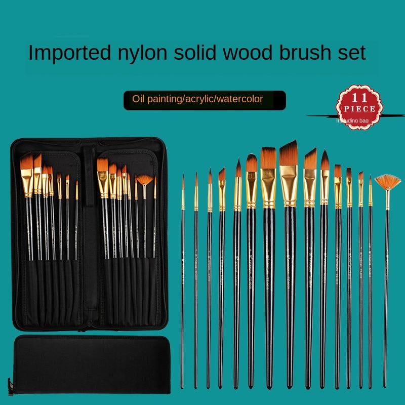 15 Pcs Nylon Hair Hairy Cloth Gouache Brush Acrylic Oil Brush Brush Set Watercolor Bag Portable Multifunctional Art Supplies