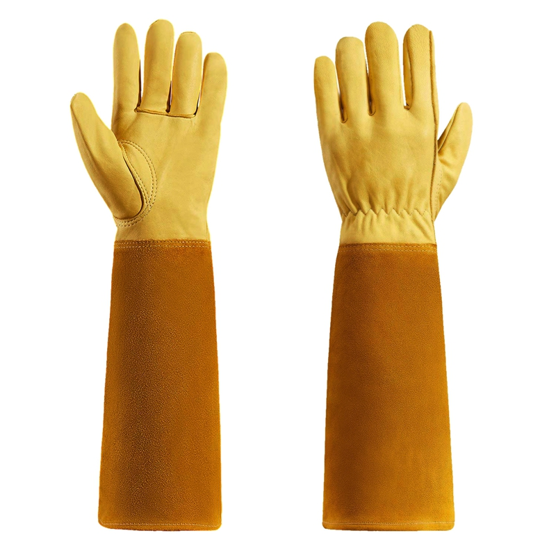 Gardening Gloves For Women And Men Thron Proof Rose Pruning Goatskin Gloves With Long Forearm Protection Gauntlet-S