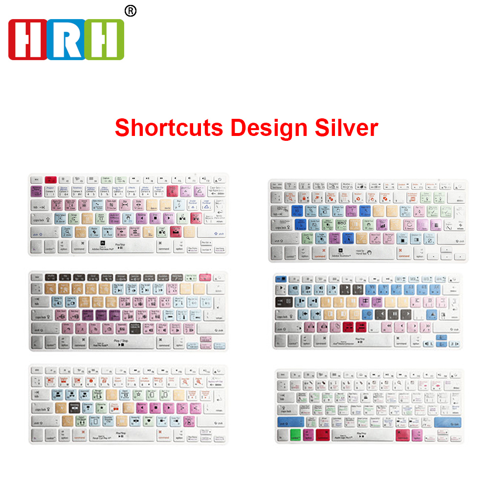 HRH Premiere Pro Final Cut Pro X AI PS Shortcut Keyboard Skin Cover For Macbook Air Pro Retina 13 15 17 US/EU Layout Both