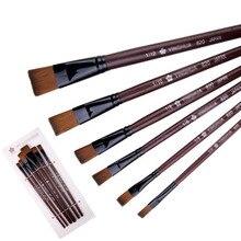 Watercolor-Brush-Set Painting Art-Supplies Acrylic-Oil Wood-Handle Drawing Nylon 6pcs