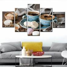 HD printing living room concert hall wall art picture home decoration 5 pieces coffee and food painting modular Nordic poster недорого