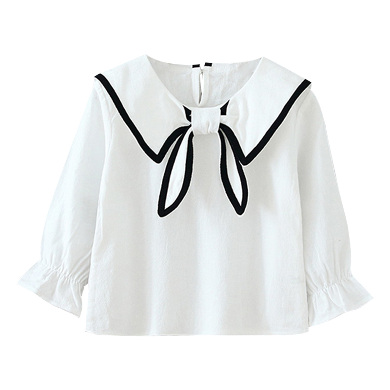 Sweet Autumn Baby Girl Cute Long Flare Sleeve Solid Bow Kids Tops Shirts Casual Blouse For Girls