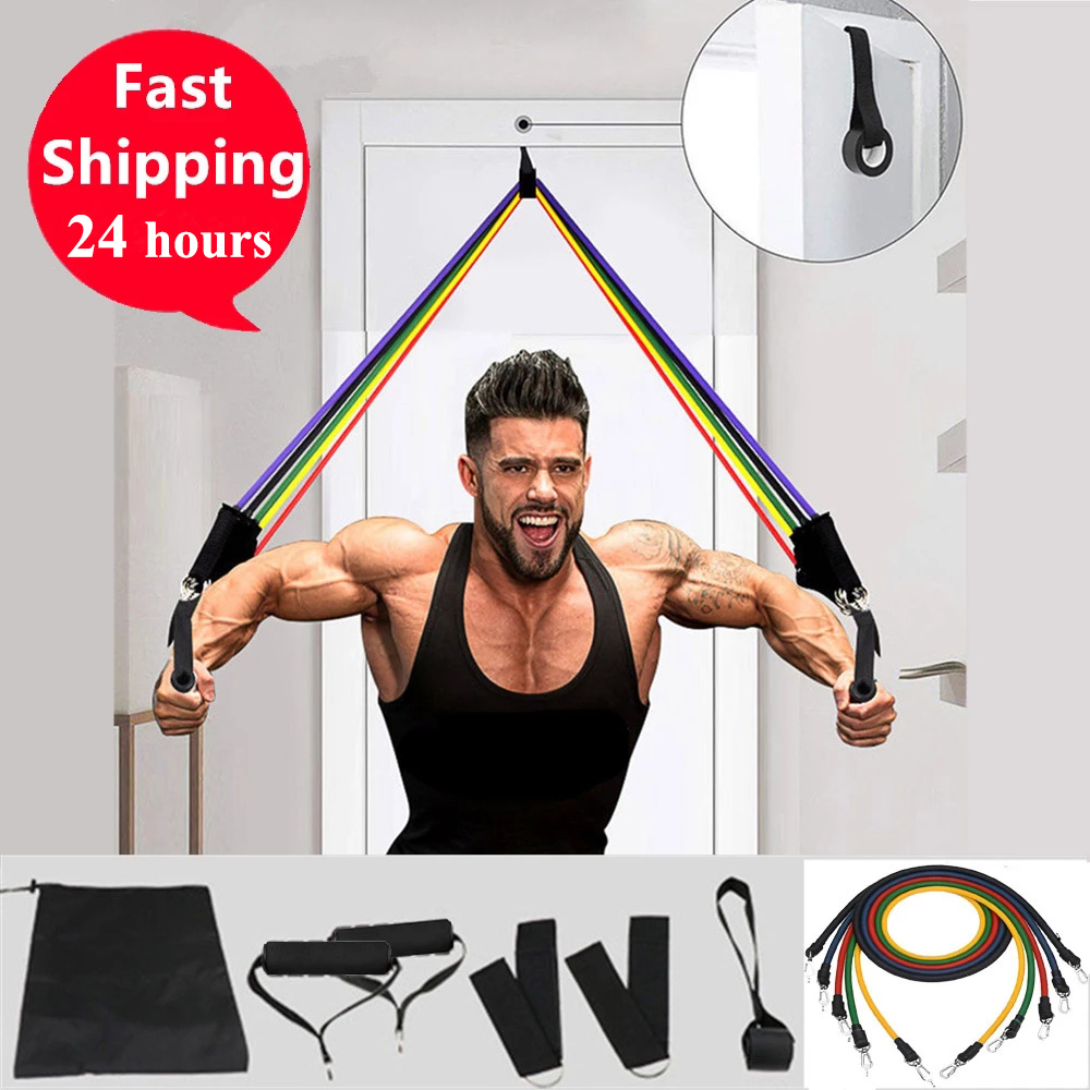 11 Pcs Widerstand Bands Set Bodybuilding Expander Stretchy Gum Sport Workout Elastische Band Für Training Gummibänder Für Fitness