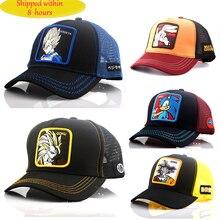 New Summer Cartoon Dragon Ball Z Mesh Baseball Caps Snapback  Anime Embroidery for Women Men Outdoor Truck Driver Dad Hat