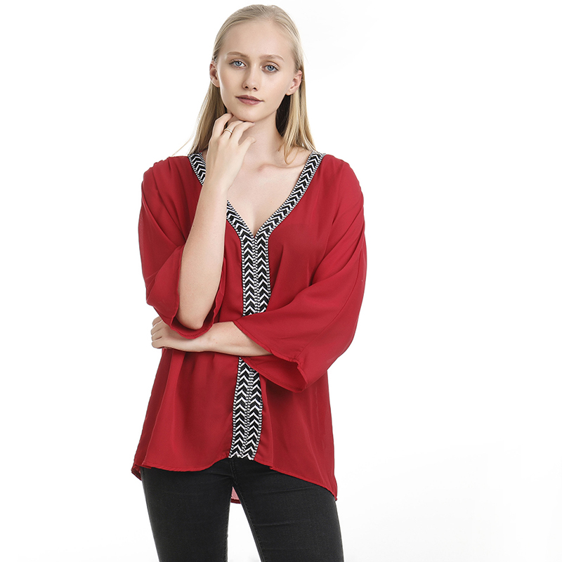 2020 Women Blouses Summer Elegant V-Neck Chiffon Soft Tunic Casual Solid Breathable Long Batwing Sleeve Top Shirts