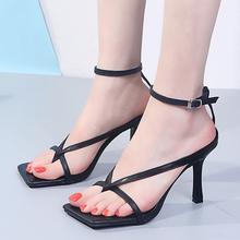 Summer High Heels Sexy Sandals Women 2020 New Cross Strap Heels Women Shoes Square Toe Strappy Thin Heels Gladiator Sandals