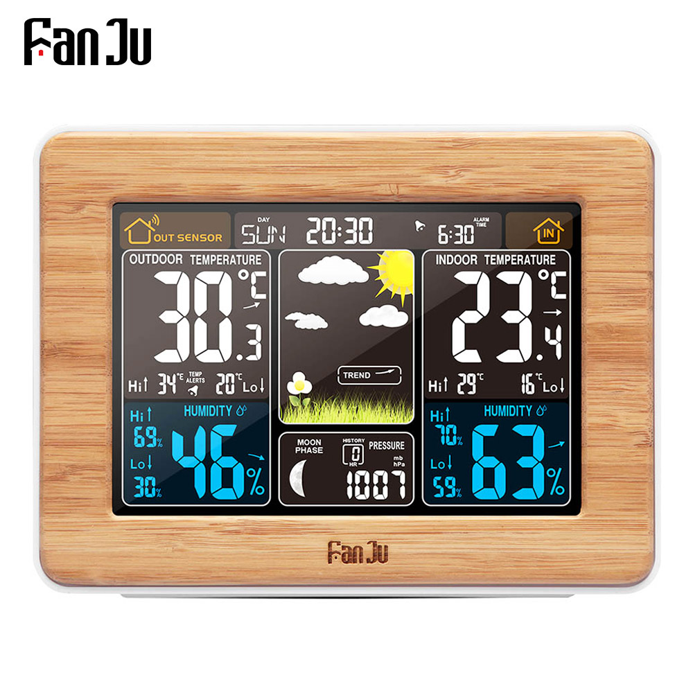 FanJu Alarm Clock Digital Watch Temperature Humidity Sensor Barometer Forecast Weather Station Electronic Desk Table Clocks-in Alarm Clocks from Home & Garden