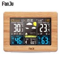 FanJu Alarm Clock Digital Watch Temperature Humidity Sensor Barometer Forecast Weather Station Electronic Desk Table Clocks