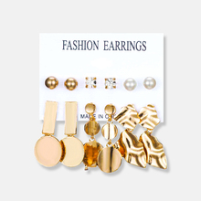 Europe And The United States Cross-border New Set Earrings Cold Wind Geometry Round Female Irregular Metal 6 Sets