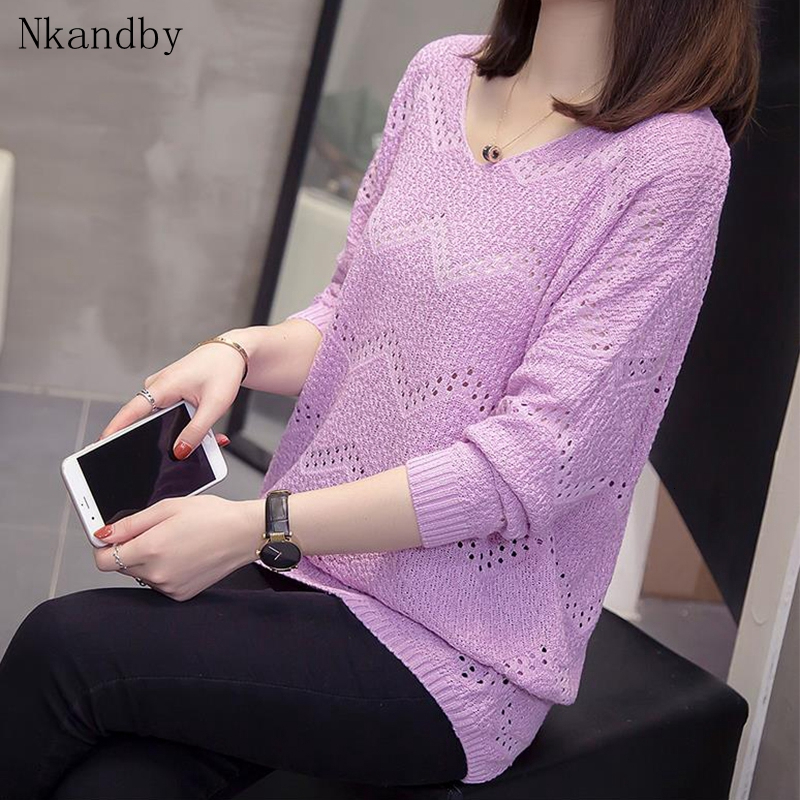 Plus Size Crocheted Pullover Woman Hollow Out Loose Sweaters Fall Fashion V Neck Knitwear Oversized Ladies Chic Knit Top Jumper