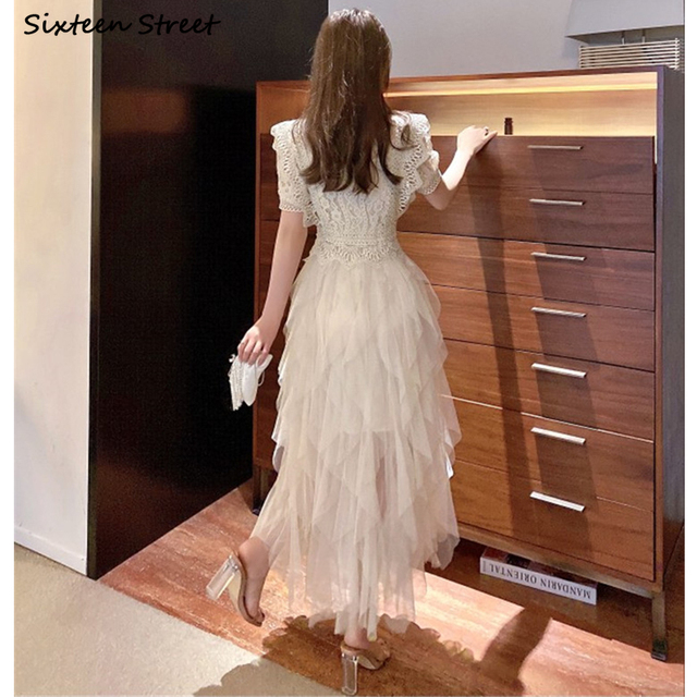 Apricot Mesh Dress Woman Summer Vintage High Waist Ball Gown Dress Bodycon Female Elegant Party Bridesmaid Maxi Dresses Woman 4