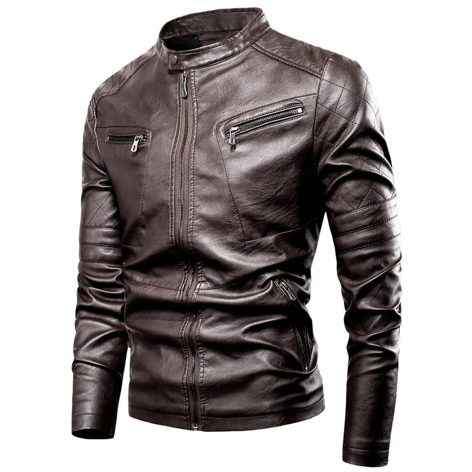 Luulla Men's 2020 Spring New Motor Casual Vintage Leater Jacket Men Brand Autumn Biker Rivet Pockets PU Leather Jacket Coat Men