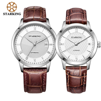 цены STARKING lovers'Watches Top Brand Genuine Leather Lovers Watch Men & Women Clock Mechanical Automatic Wristwatch Couple Watches