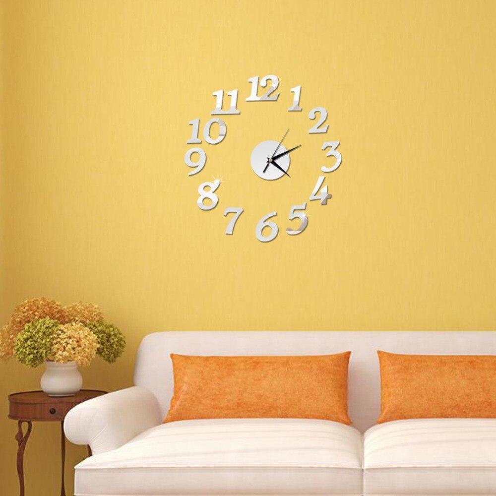 3D Wall Clock Mirror Wall Stickers Fashion Living Room Quartz Watch DIY Home Decoration Clocks Sticker reloj de pared 2