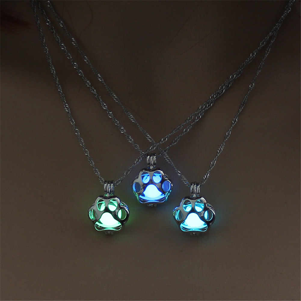 Steampunk Luminous Hollow Water Drop Moon Pendant Necklace Glow In The Dark Antique Alloy Magic Round Locket Jewelry for Women