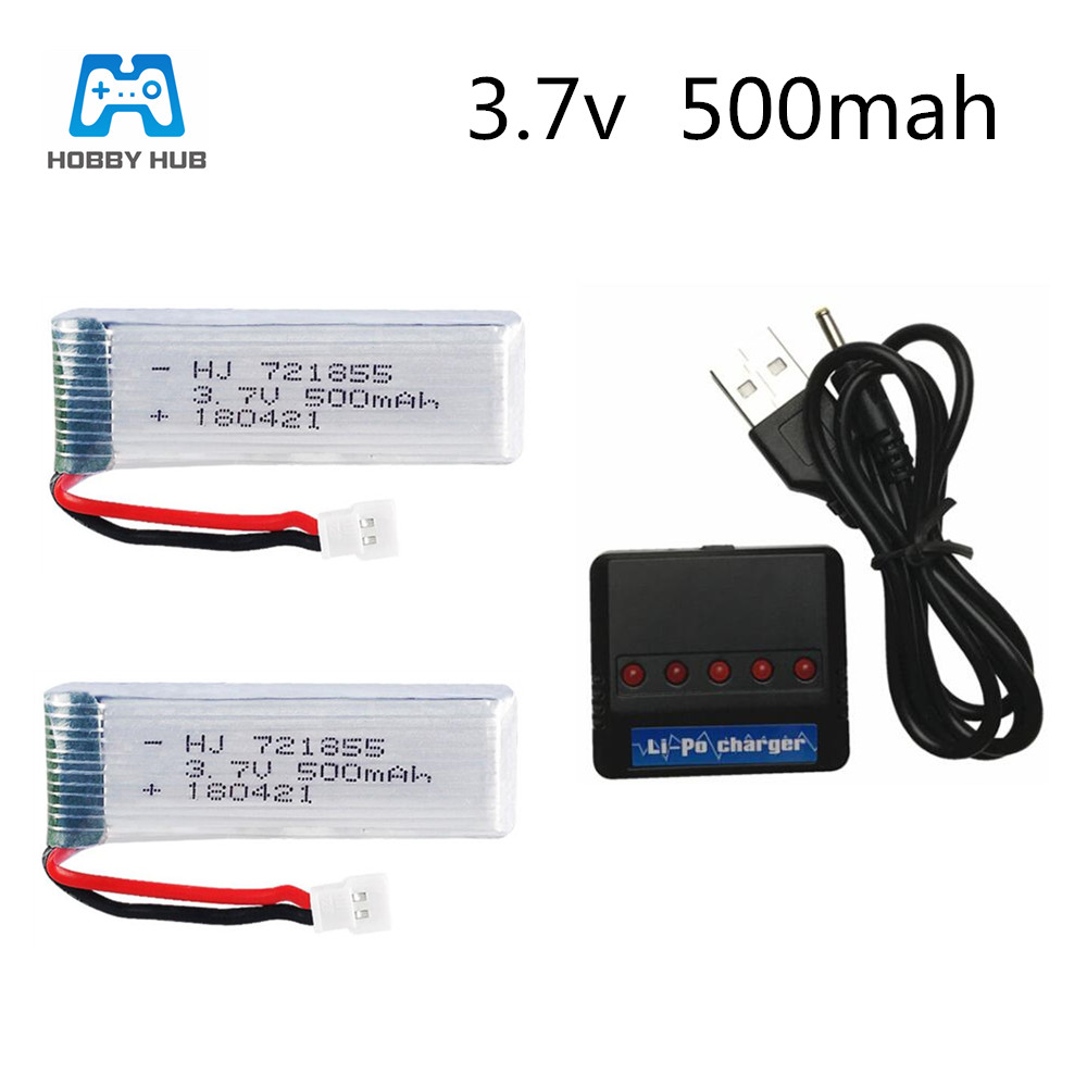 2/3/4/5x 3.7v <font><b>500mah</b></font> lipo <font><b>battery</b></font> 721855 for E50 E50S T37 H37 Elfie Drone RC helicopter <font><b>battery</b></font>+charger group <font><b>3.7</b></font> v image