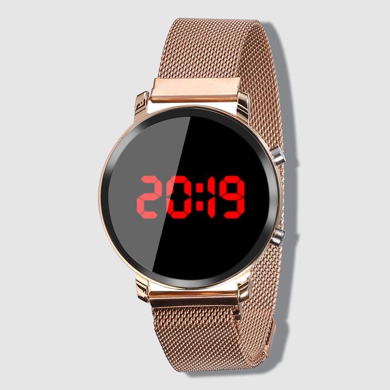 New LED Watch Women Watches Stainless Steel Female Watch Electronic Clock Men Digital Watches Wristwatch Mens Relogio Feminino