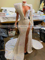Prom Dresses 2020 Sexy High Slit Single Long Sleeve Sparkly Sequined African Women Black Girls Prom Party Gowns