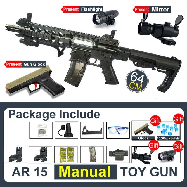Assault Manual Rifle AR 15 BB Gun Or Water Bullet Single Shoot Assembled Guns s Sniper Arms Weapon  Adult Gift 3