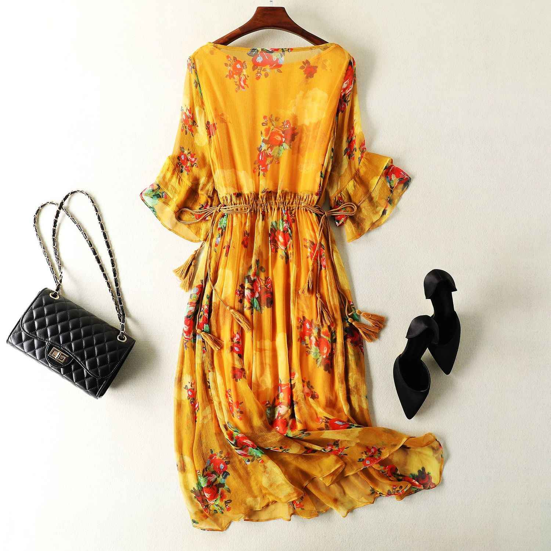 Vestido de verano para mujer Vestidos amarillos de seda Real Vestidos largos florales Vintage coreanos de la playa Vestidos de fiesta de noche 08010
