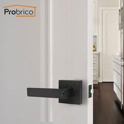 Probrico Черные Квадратные дверные ручки с замком, цилиндрическая защелка, Рычаг передней и задней двери, Домашняя безопасность, фурнитура для ...