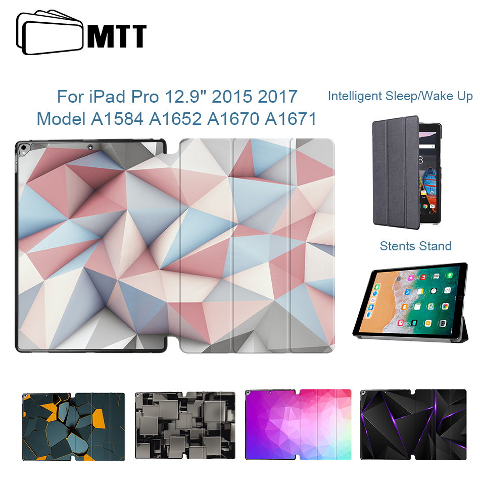 MTT Case For IPad Pro 12.9 Inch 2015 2017 Geometric Slim PU Leather Flip Stand Smart Cover Auto Sleep/Wake Tablet Case A1584