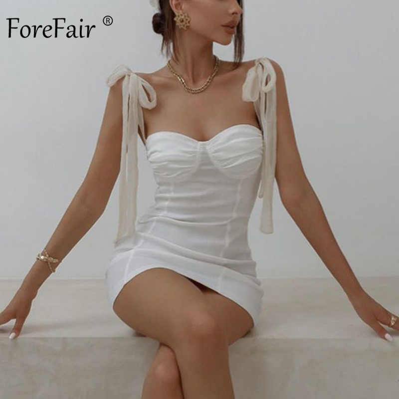 Forefair Boog Gebonden Mini Jurk Sexy Bodycon Strapless Off Shoulder Lace Up Solid Zwart Wit Korte Jurk Party