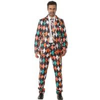 Bloodia Killer Clowns Stylish Adult Man's Horror Spooky Fancy Crazy Suit Halloween Party Costume Masquerade Performance Parties
