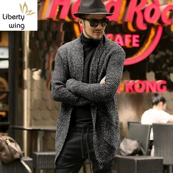 Spring 2020 Medium Cardigan Outerwear Men America Casual Thicken Warm Long Sleeve Loose Streetwear Knitted Sweater