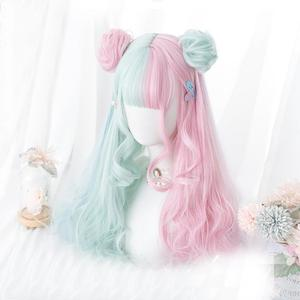 Cosplaymix 57CM Lolita Makaron Color Pink Mixed Mint Green Blue Ombre Long Curly Bangs Cute Synthetic Buns Cosplay Wig(China)