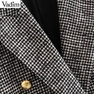 Image 4 - Vadim women formal houndstooth tweed blazer double breasted long sleeve pockets coats office wear casual tops CA601