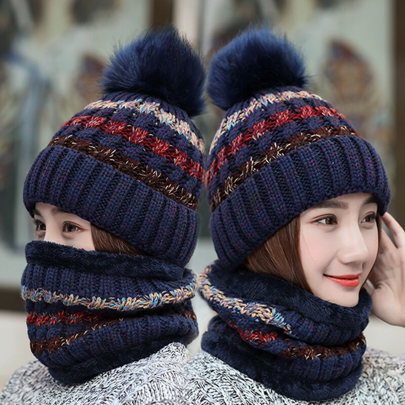 2019 New Knitted Winter Hat Scarf Set Women Thick Beanies Hat And Infinity Scarf Female Knitted Winter Accessories Girls Gift