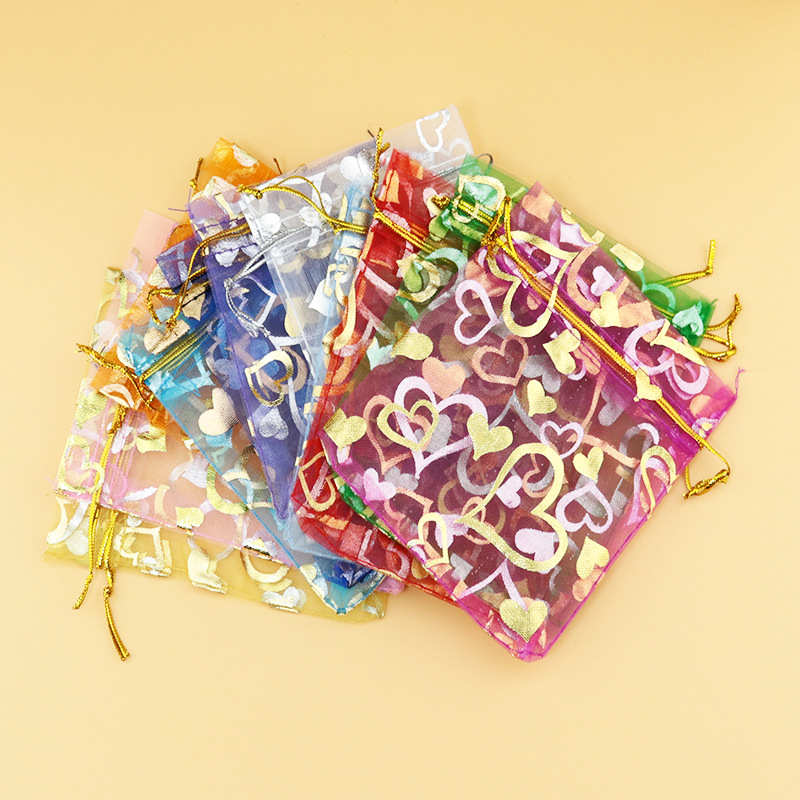 50pcs Organza Bags 4 Size Choose Hot  7*9cm/10*12cm/11*16cm/13*18cm Heart Printing Bags Golden Strings Colorful Jewelry Storage